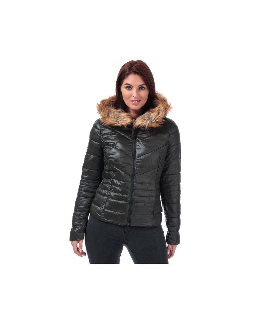 Image for Women's Vero Moda Soraya Siv Faux Fur Trim Jacket in olive