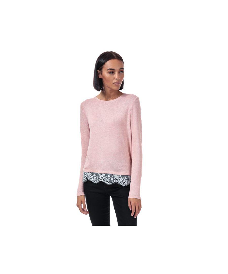 Image for Women's Vero Moda Brianna Lace Trim Jumper in Rose