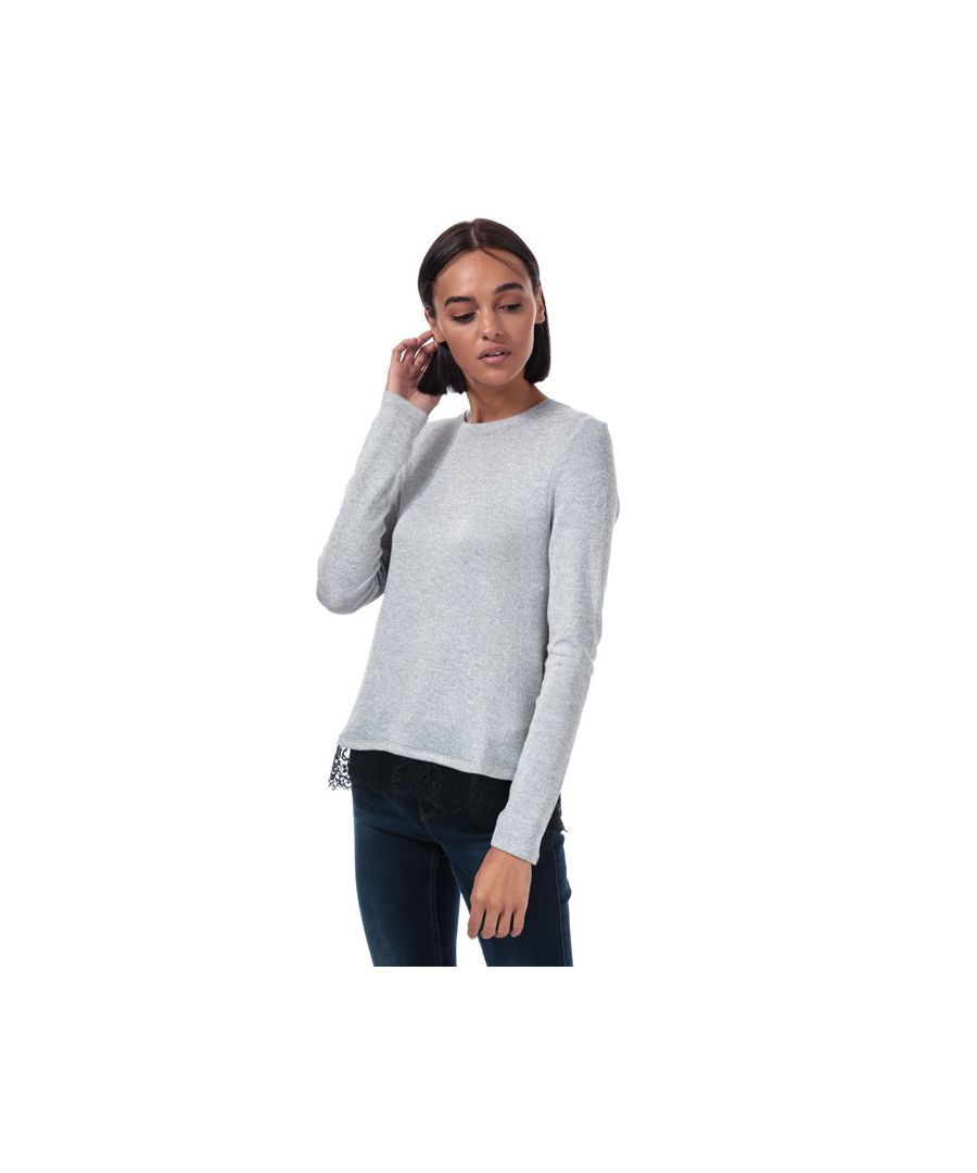 Image for Women's Vero Moda Brianna Lace Trim Jumper in Light Grey
