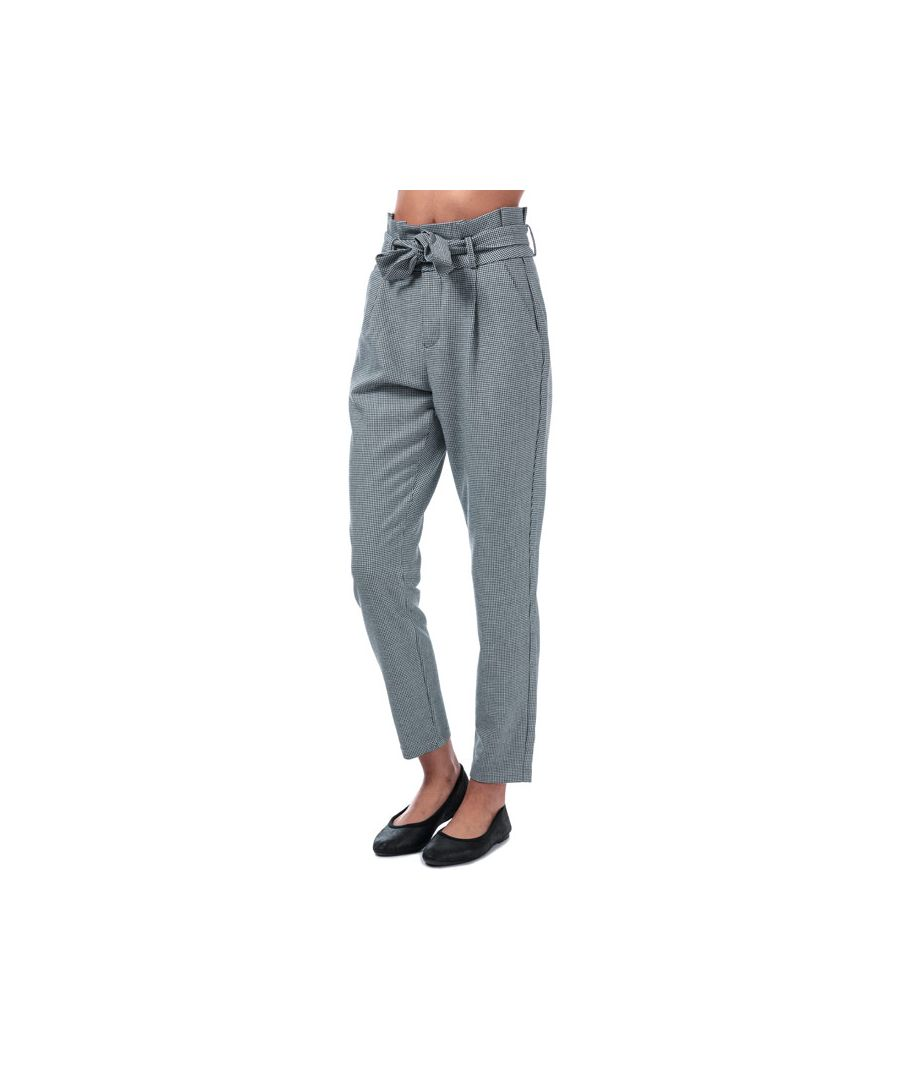 Image for Women's Vero Moda Eva Paperbag Houndstooth Trousers in Black-White