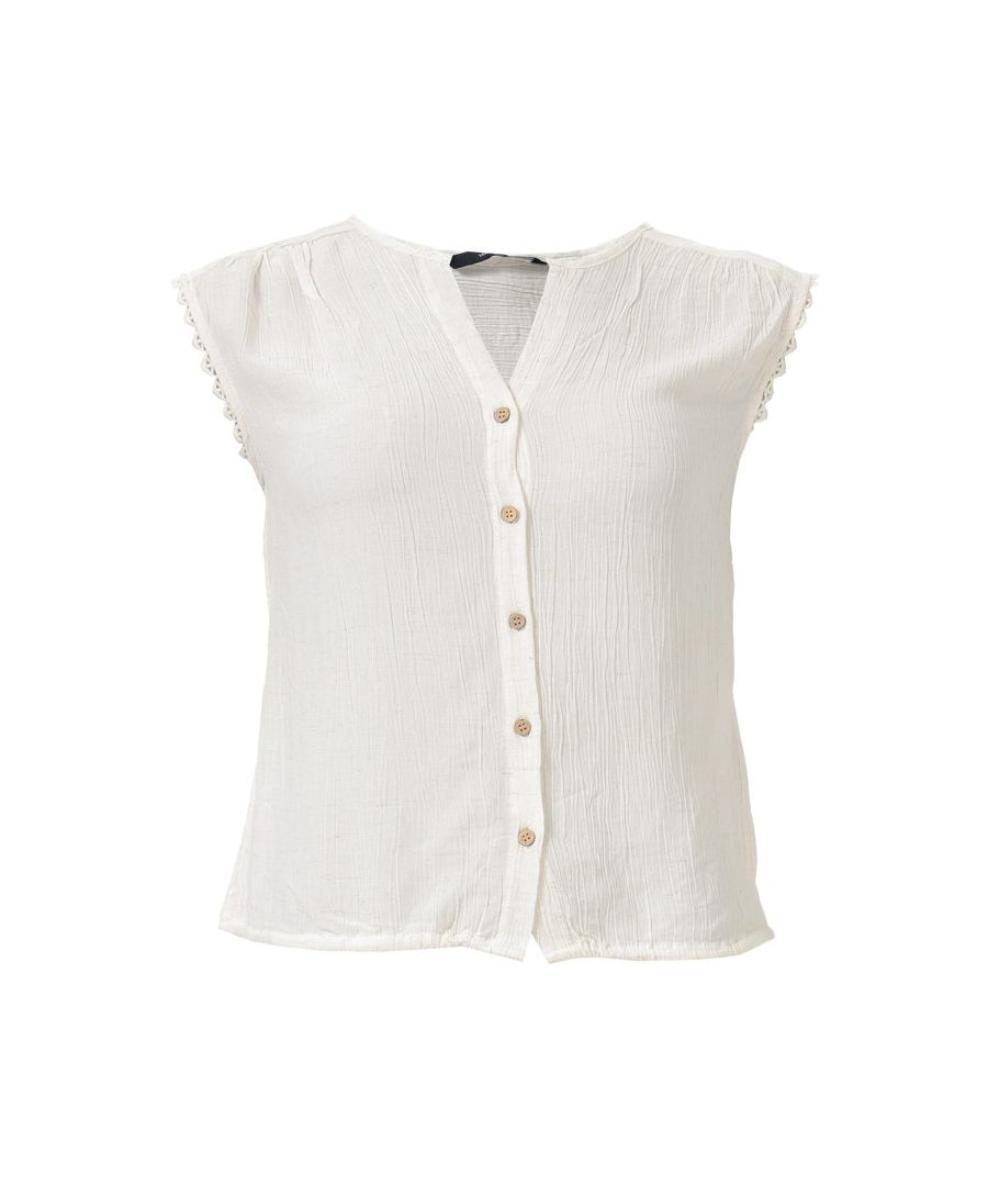 Image for Women's Vero Moda Naomi Sleeveless Lace Trim Top in Natural