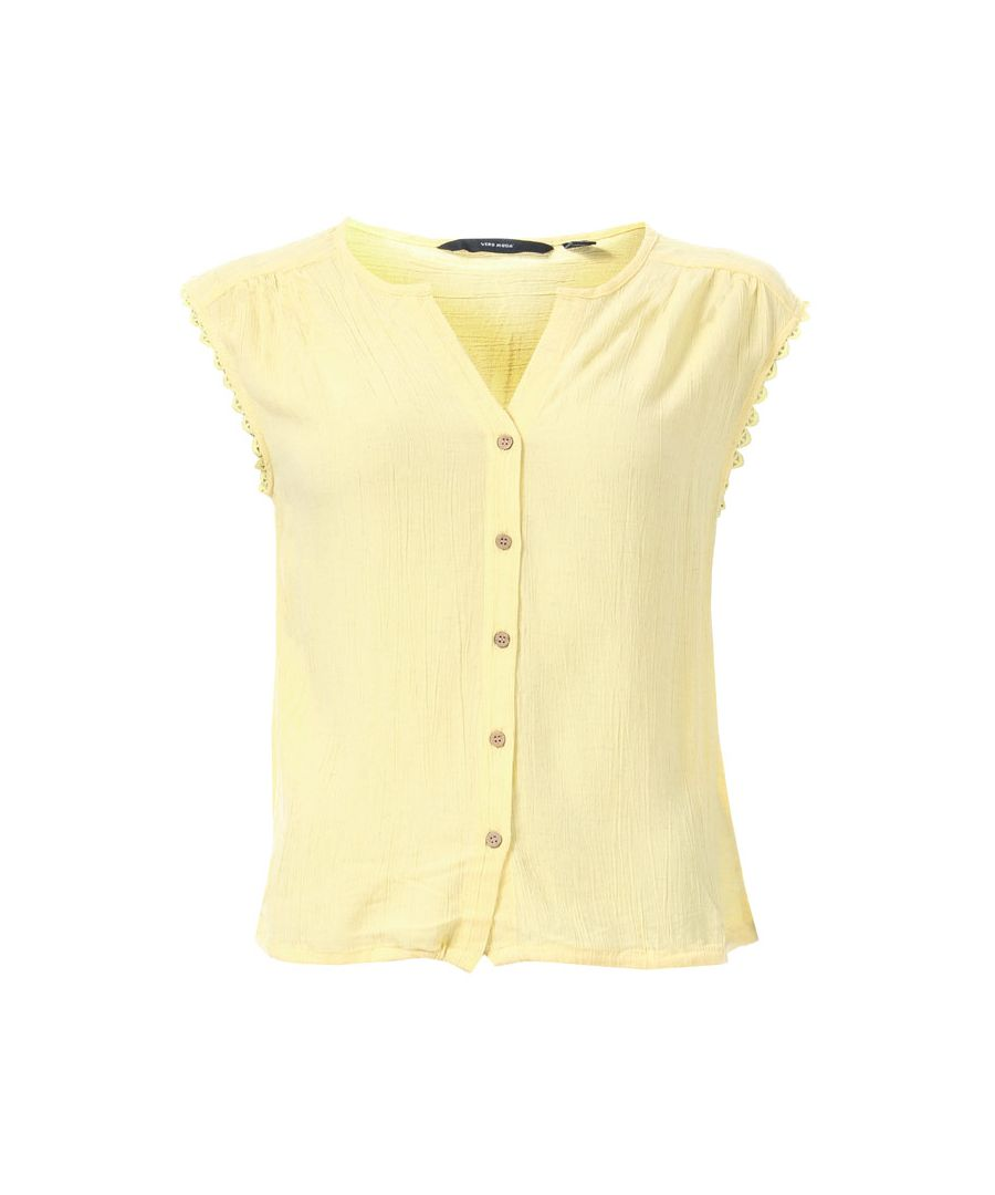 Image for Women's Vero Moda Naomi Sleeveless Lace Trim Top in Lemon