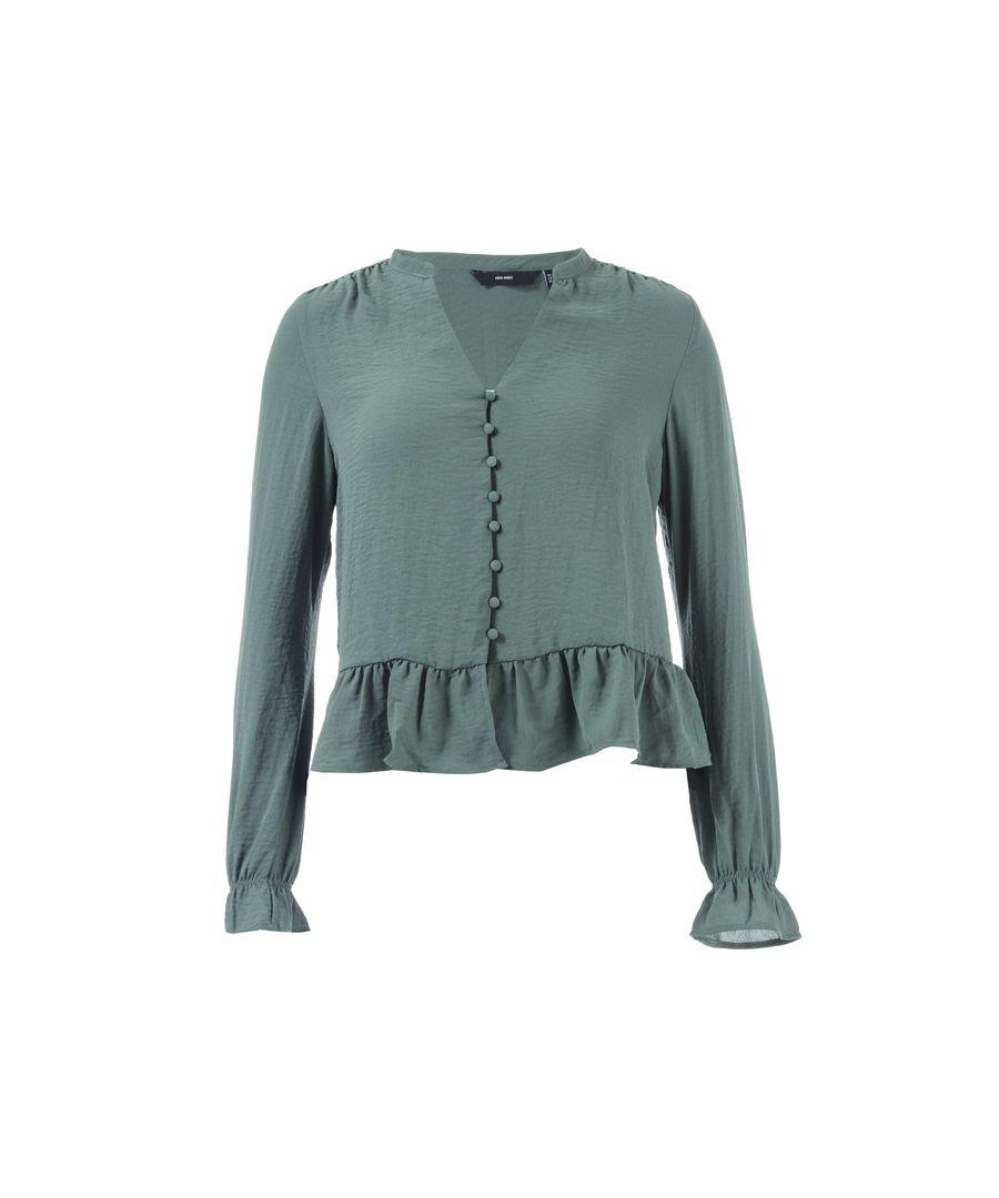 Image for Women's Vero Moda Isabella Mini V-Neck Shirt in Green