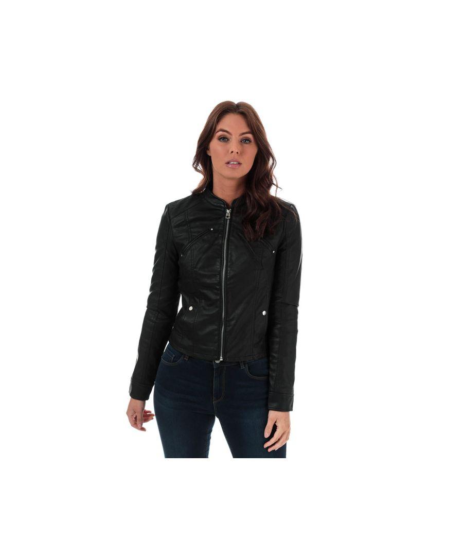 Image for Women's Vero Moda Favodona Faux Leather Jacket in Black