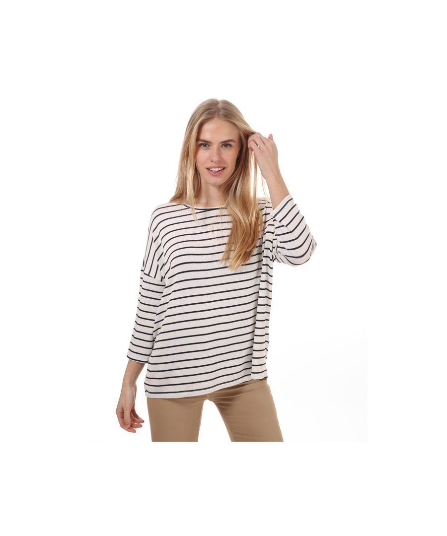 Image for Women's Vero Moda Brianna 3 Quarter Sleeve Stripe Jumper in White Navy