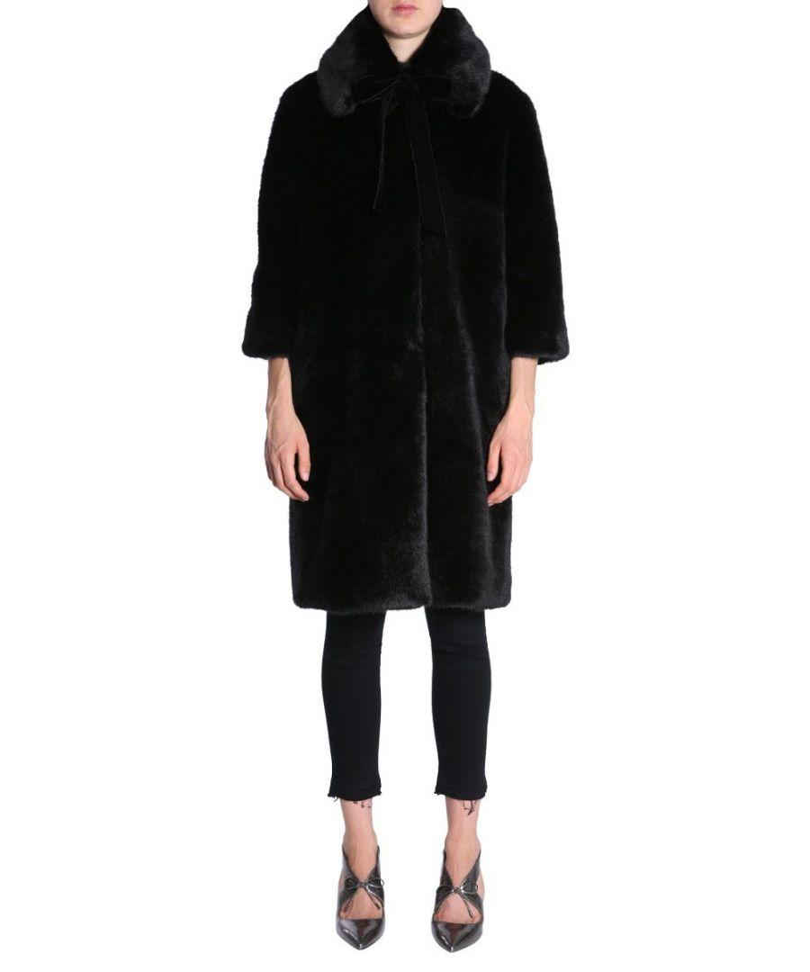 Image for AINEA WOMEN'S F8F238B1 BLACK ACRYLIC COAT