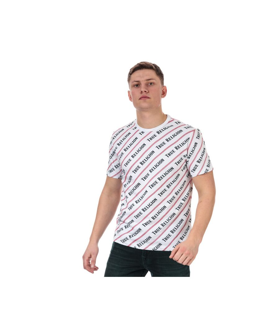 Image for Men's True Religion Coverstitch All Over Print T-Shirt in White