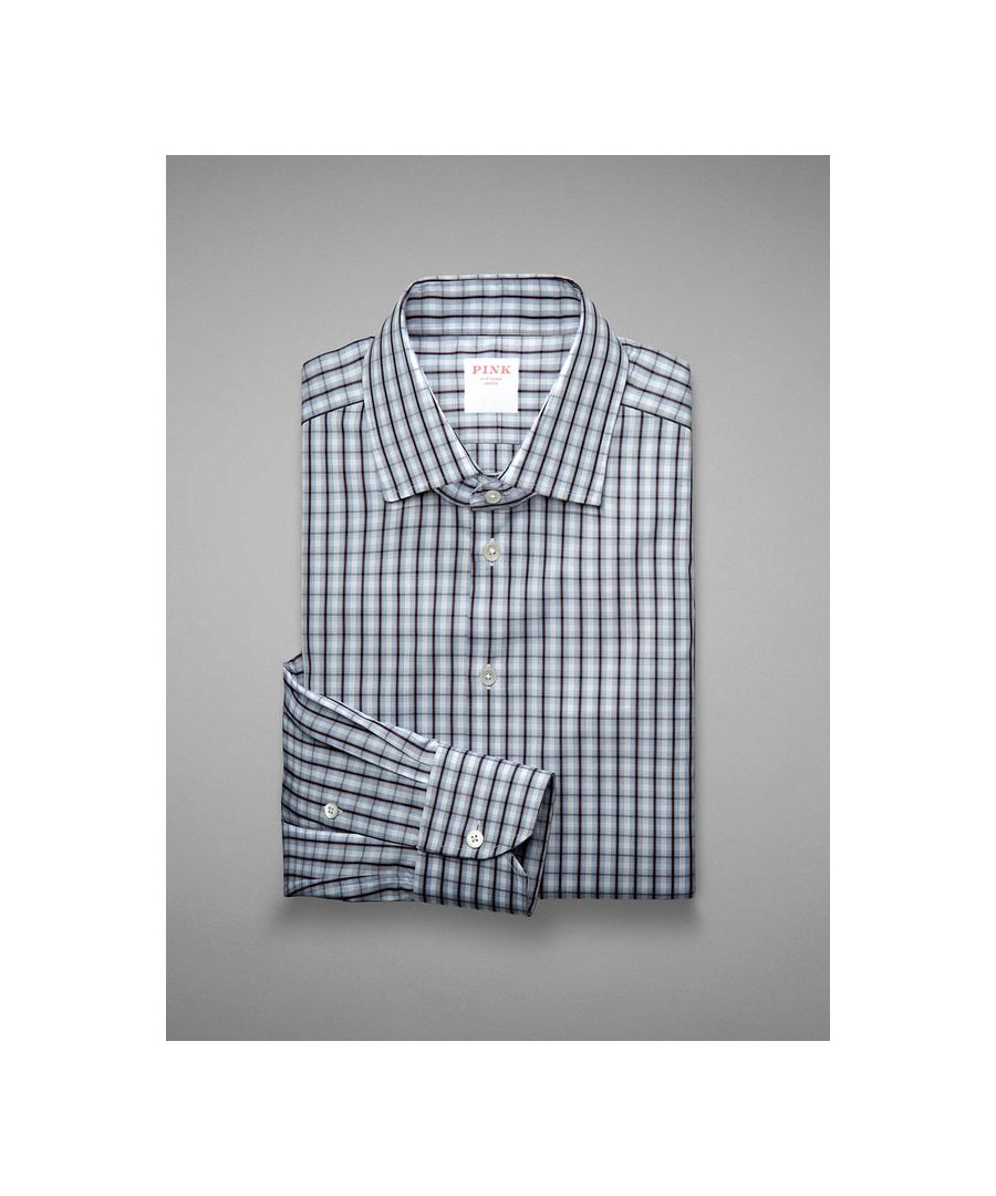 Image for Tailored Fit  Tonal Check End on End  Button Cuff Shirt