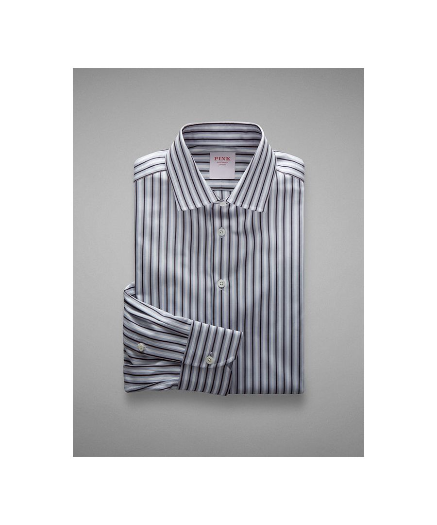 Image for Tonal Stripe End on End Button Cuff