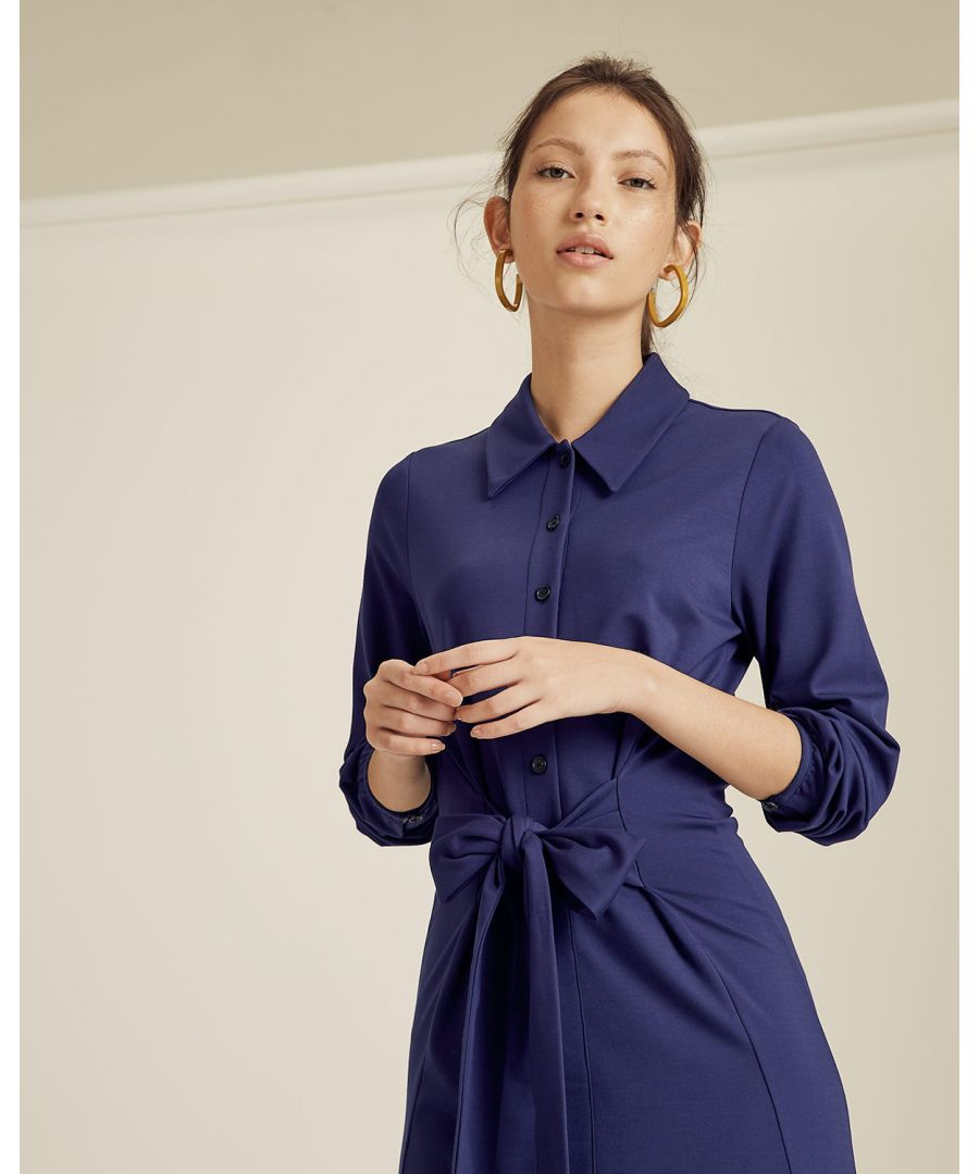 Image for Tie Front Jersey Shirt Dress