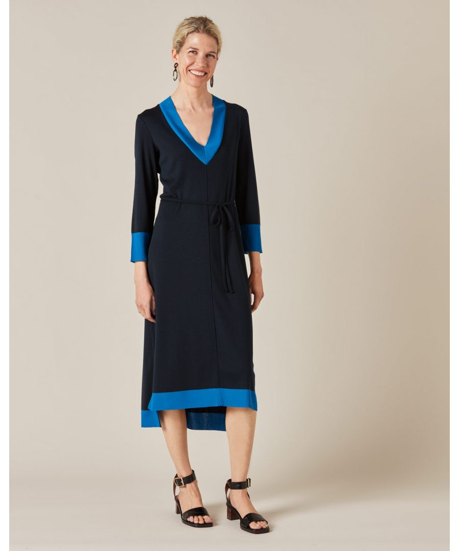Image for V Neck Contrast Midi Dress