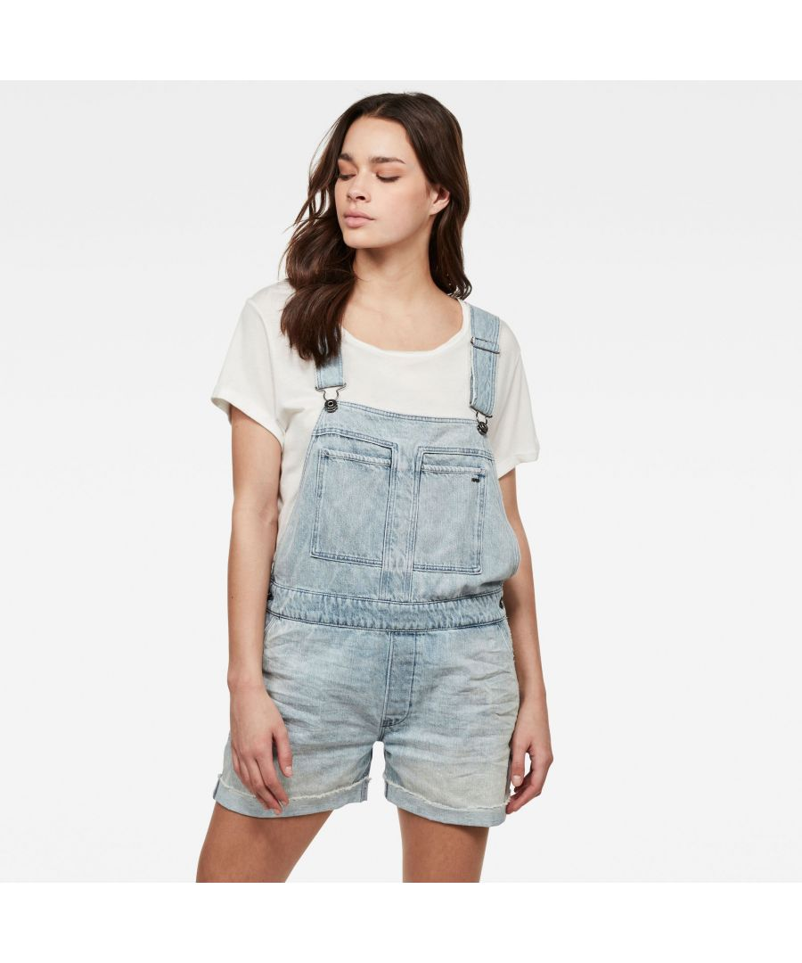 Image for G-Star Raw Faeroes Boyfriend Short Overall Ripped Edge Turnup