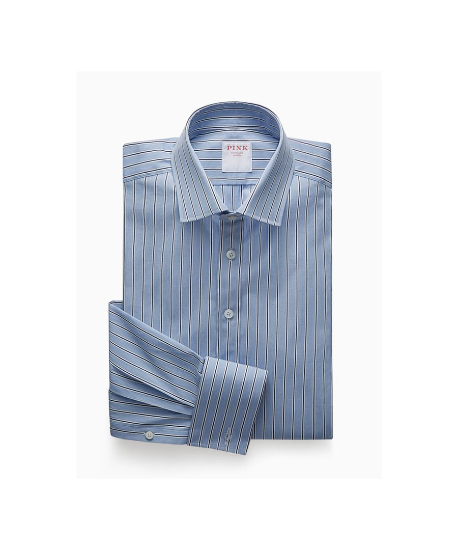 Image for Tailored Fit City Stripe End On End Double Cuff Shirt
