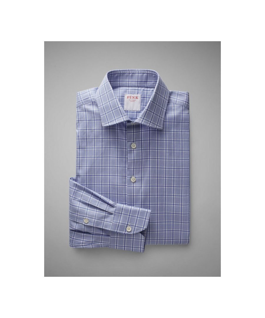 Image for Tailored Fit Prince Of Wales Check Twill Button Cuff Shirt