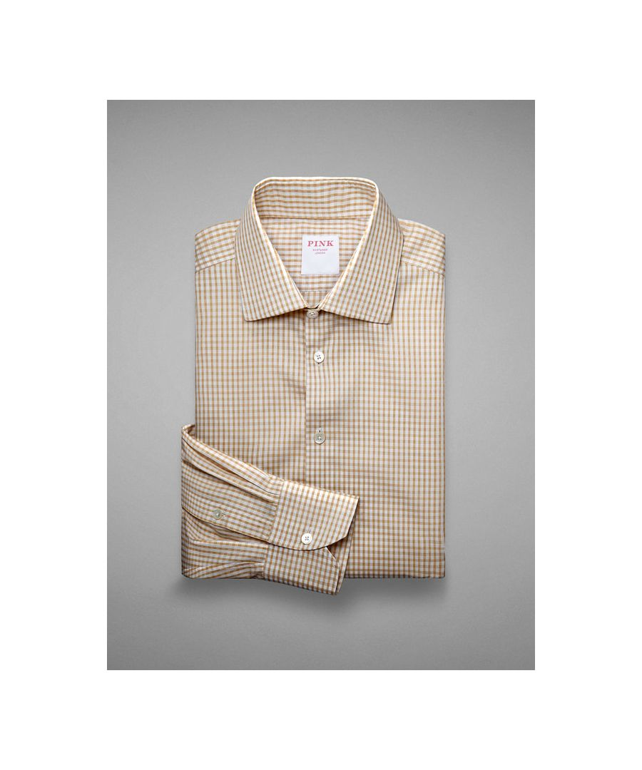 Image for Tailored Fit  Gingham Check Piquet  Button Cuff Shirt