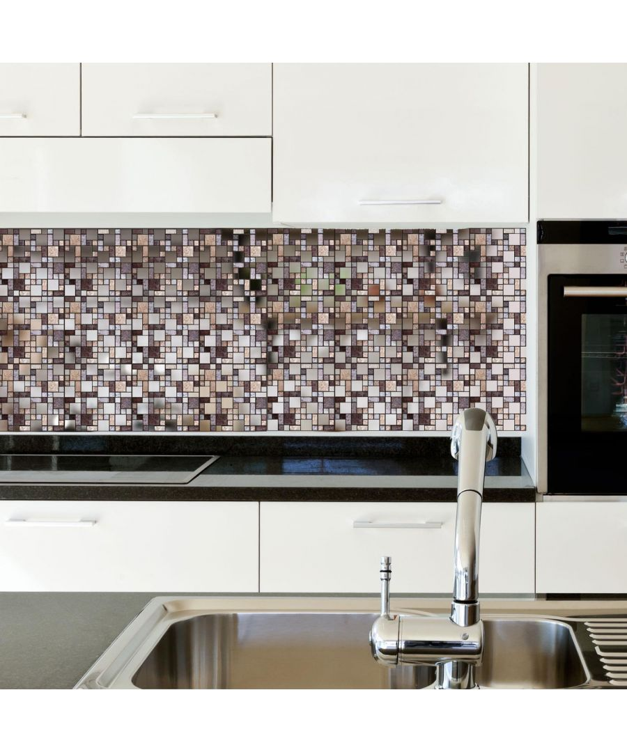 Image for Metallic Silver Brown Stone Mosaic Wall Tile Sticker Set - 15cm (6inch) - 24pcs one pack