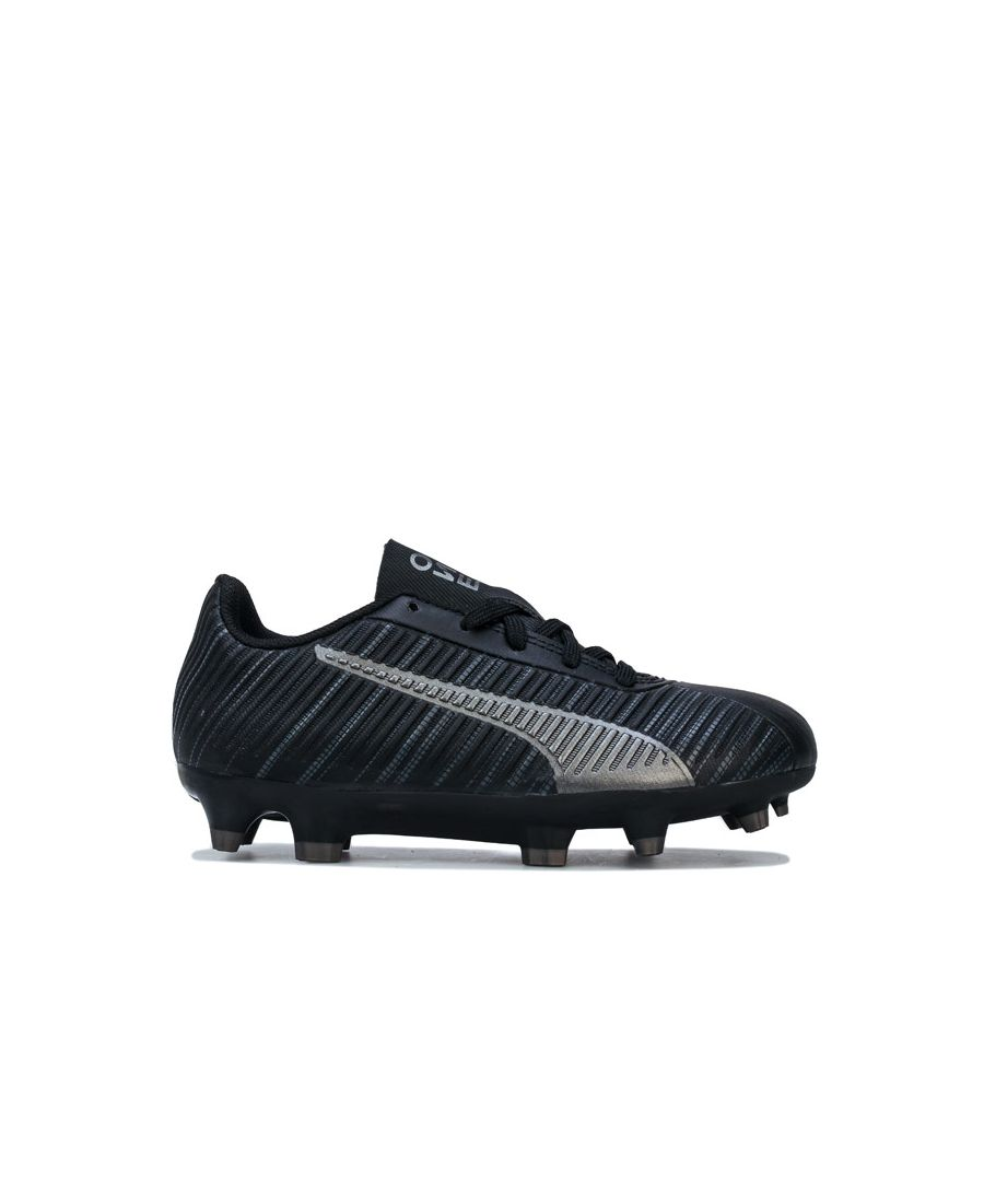 Image for Boy's Puma Children One 5.4 FG/AG Football Boots in Black Silver