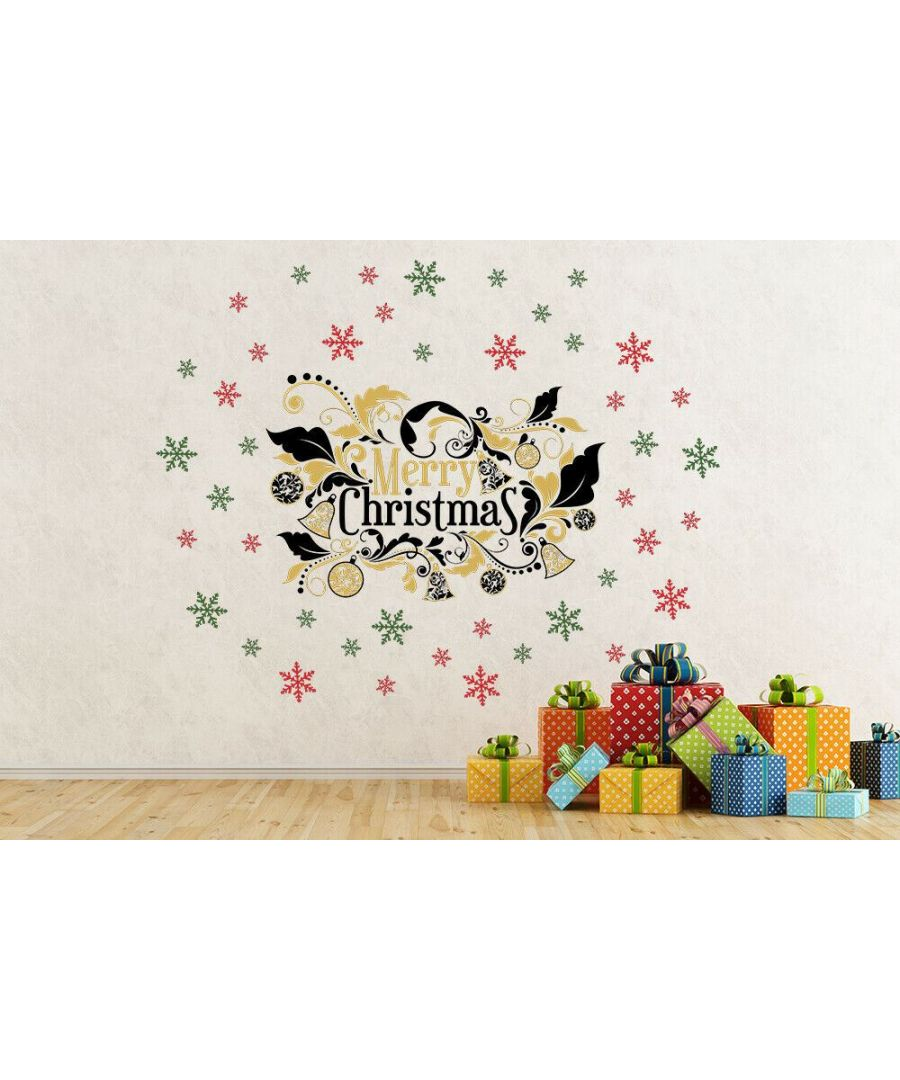 Image for Merry Christmas and Colorful Snowflakes  Christmas Wall Stickers, Kitchen, Bathroom, Living room, Self-adhesive, Decal