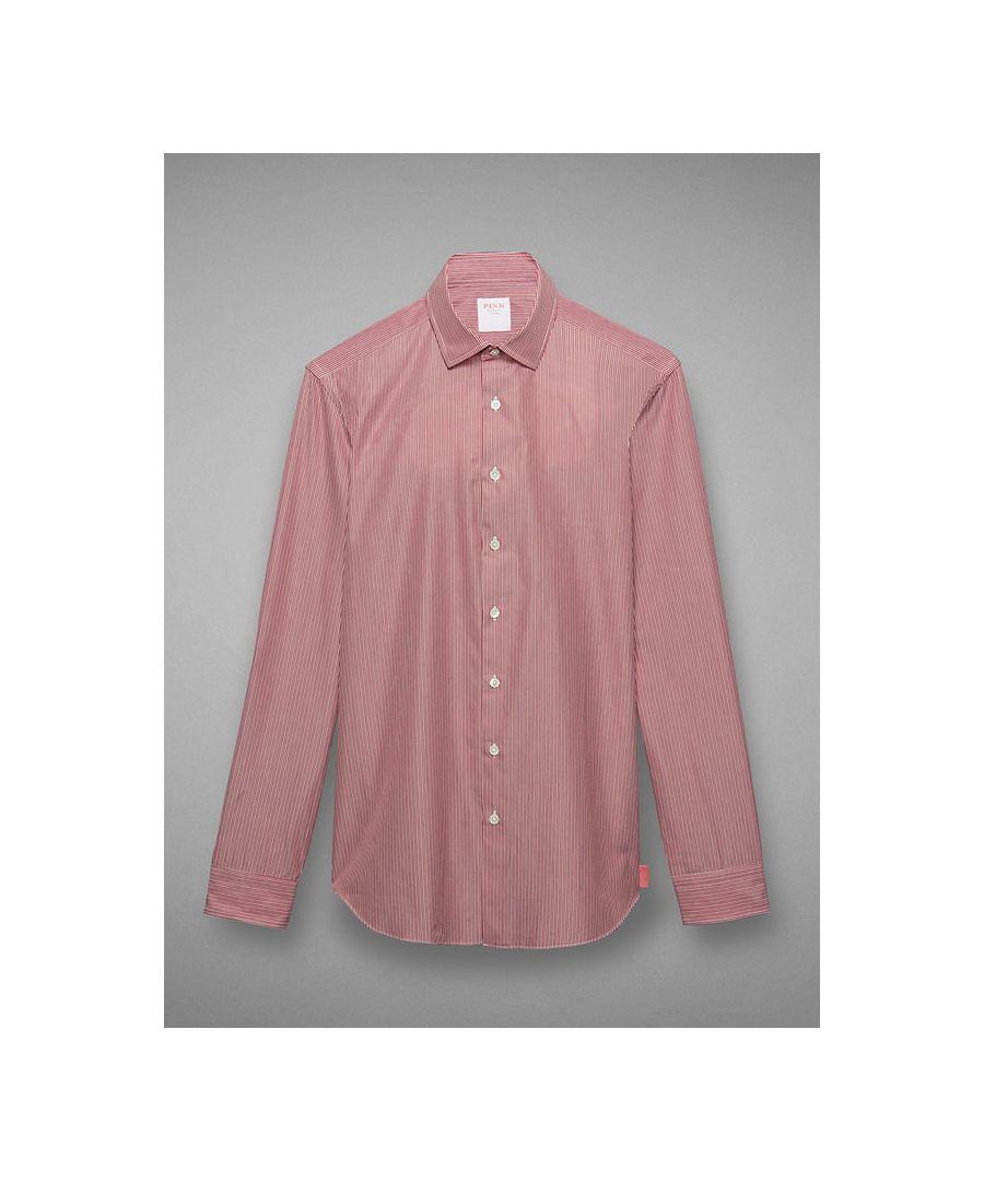 Image for Slim Silhouette Soft Collar Micro Stripe Poplin Button Cuff Shirt