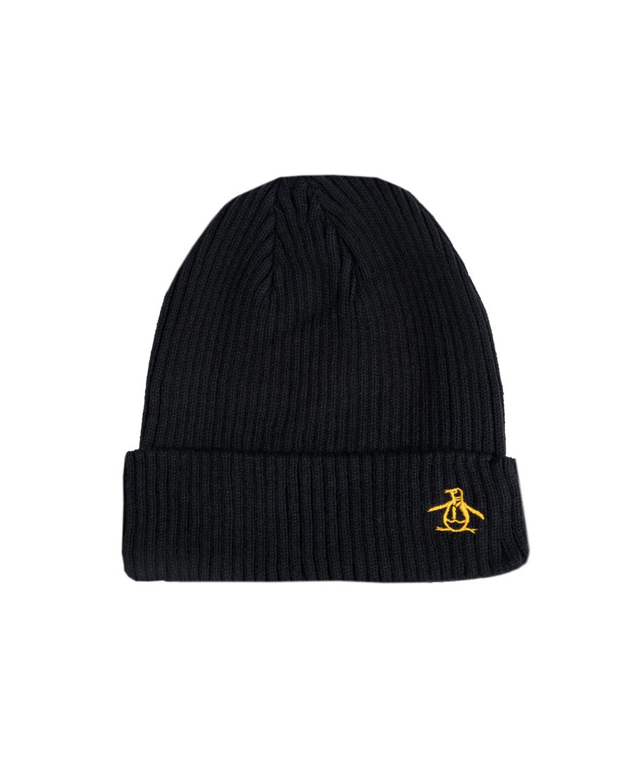 Image for Accessories Original Penguin Basic Ribbed Logo Beanie in Black