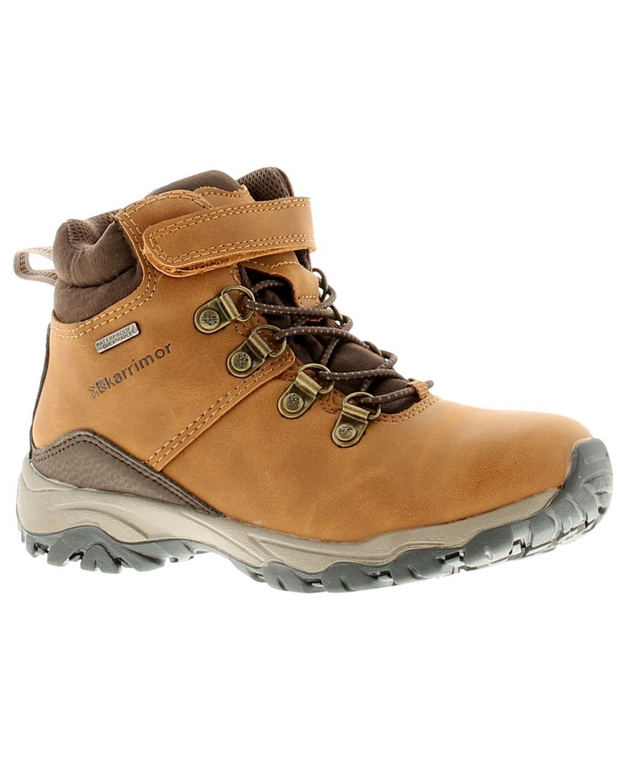 Image for Karrimor Mendip Kids Wt Girls Kids Leather Walking Hiking Boots Tan