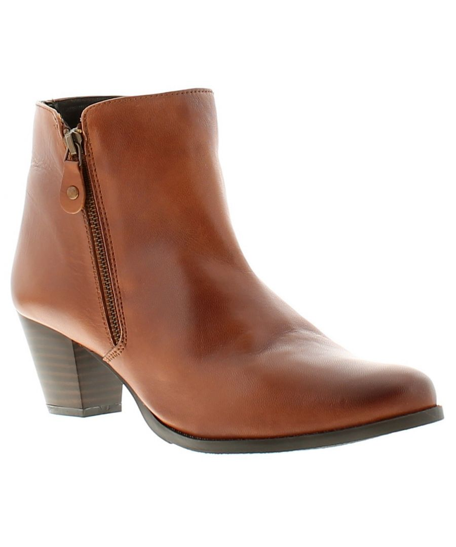 Image for Comfort Plus cp april leather womens ladies ankle boots tan
