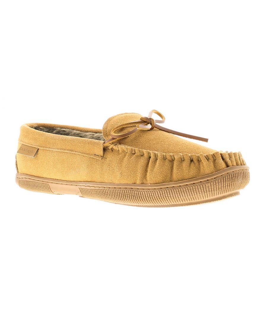 Image for Hush Puppies ace leather mens full slippers tan