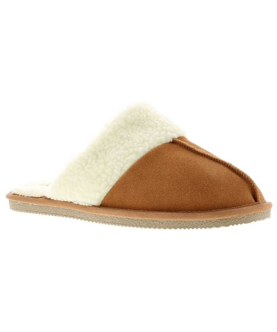 Image for Hush Puppies arianna leather womens ladies mule slippers tan