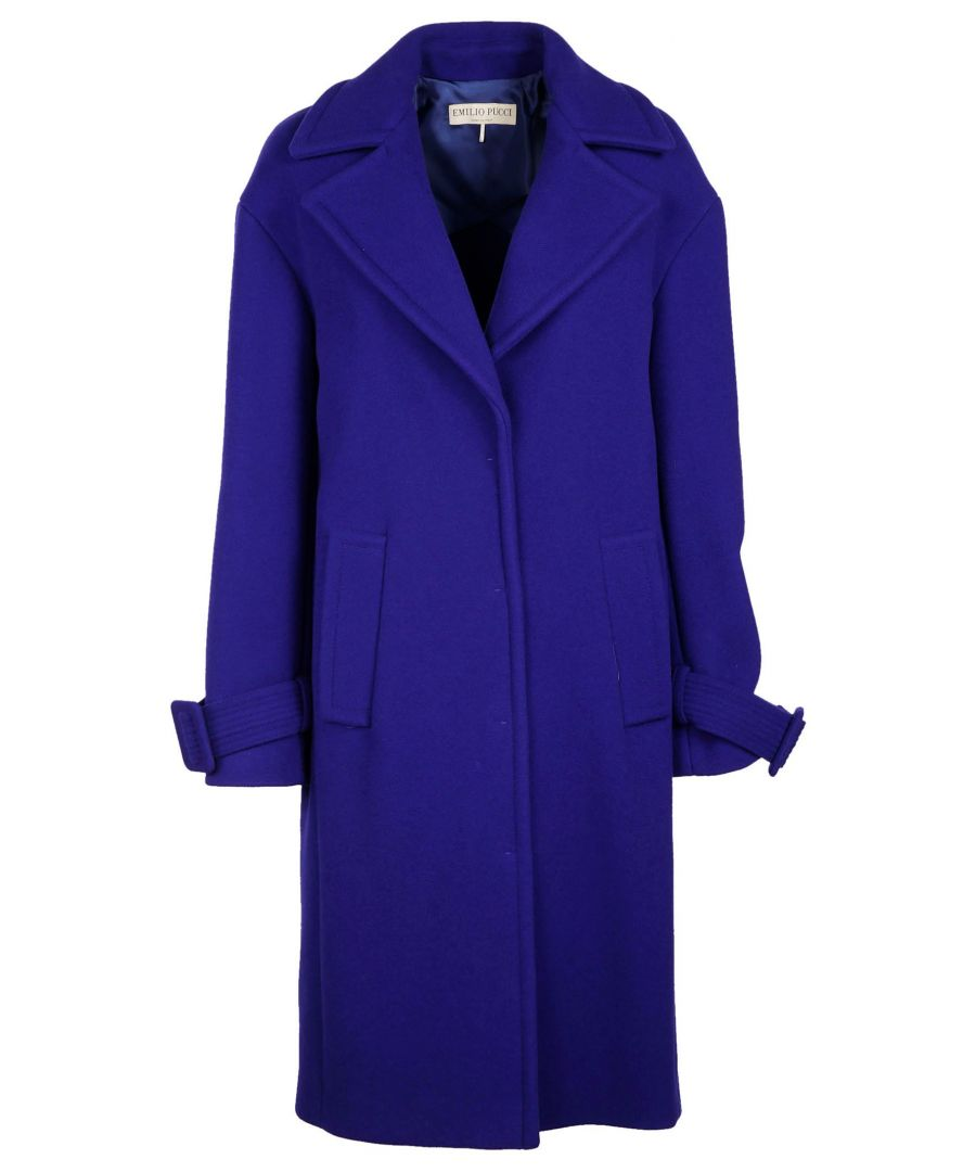 Image for EMILIO PUCCI WOMEN'S 76RA1076606531 BLUE WOOL COAT