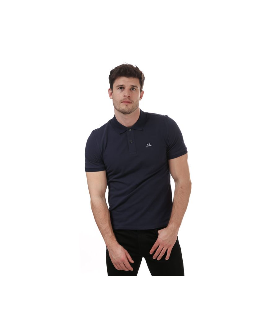 Image for Men's C.P. Company Stretch Pique Polo Shirt in Blue