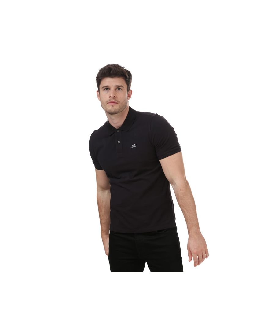 Image for Men's C.P. Company Stretch Pique Polo Shirt in Black