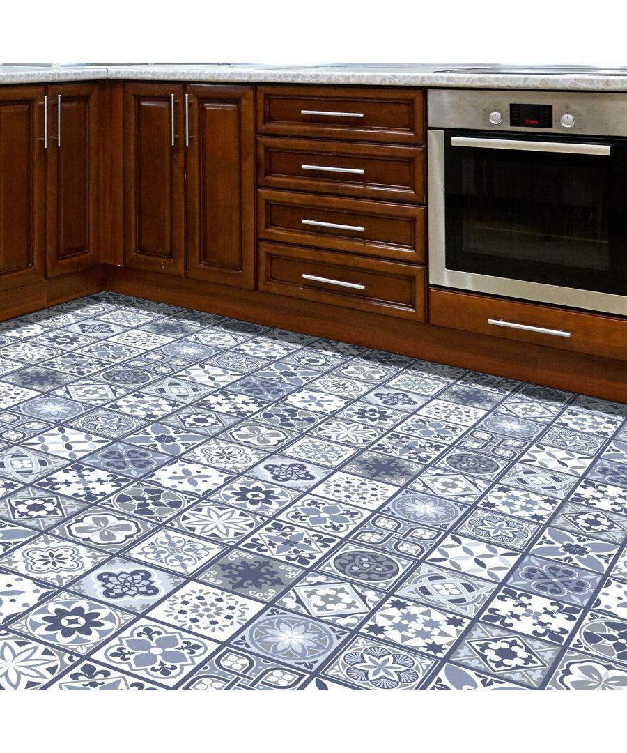 Image for WFS6003 - Lisbon Blue Tiles Floor Sticker 120cm x 60 cm