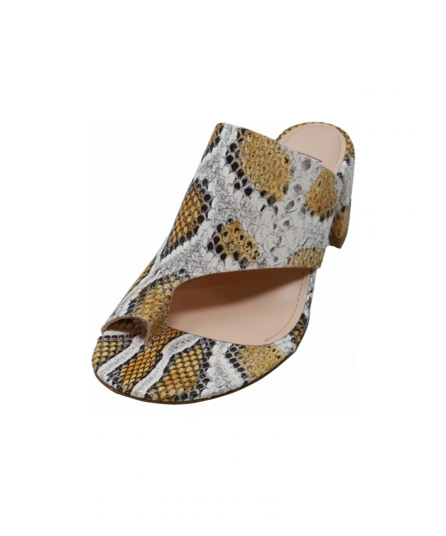 Image for Agl Women's Toe Loop Chunky Heel Sandal Sunflower / Amber Snakeskin - 7.5M