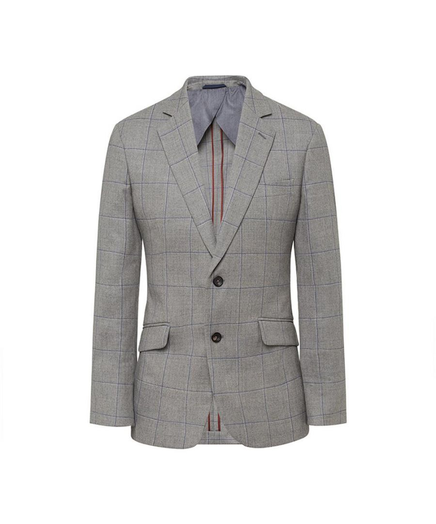 Image for Men's Hackett, Brushed Cotton Grey Check Jacket in Grey