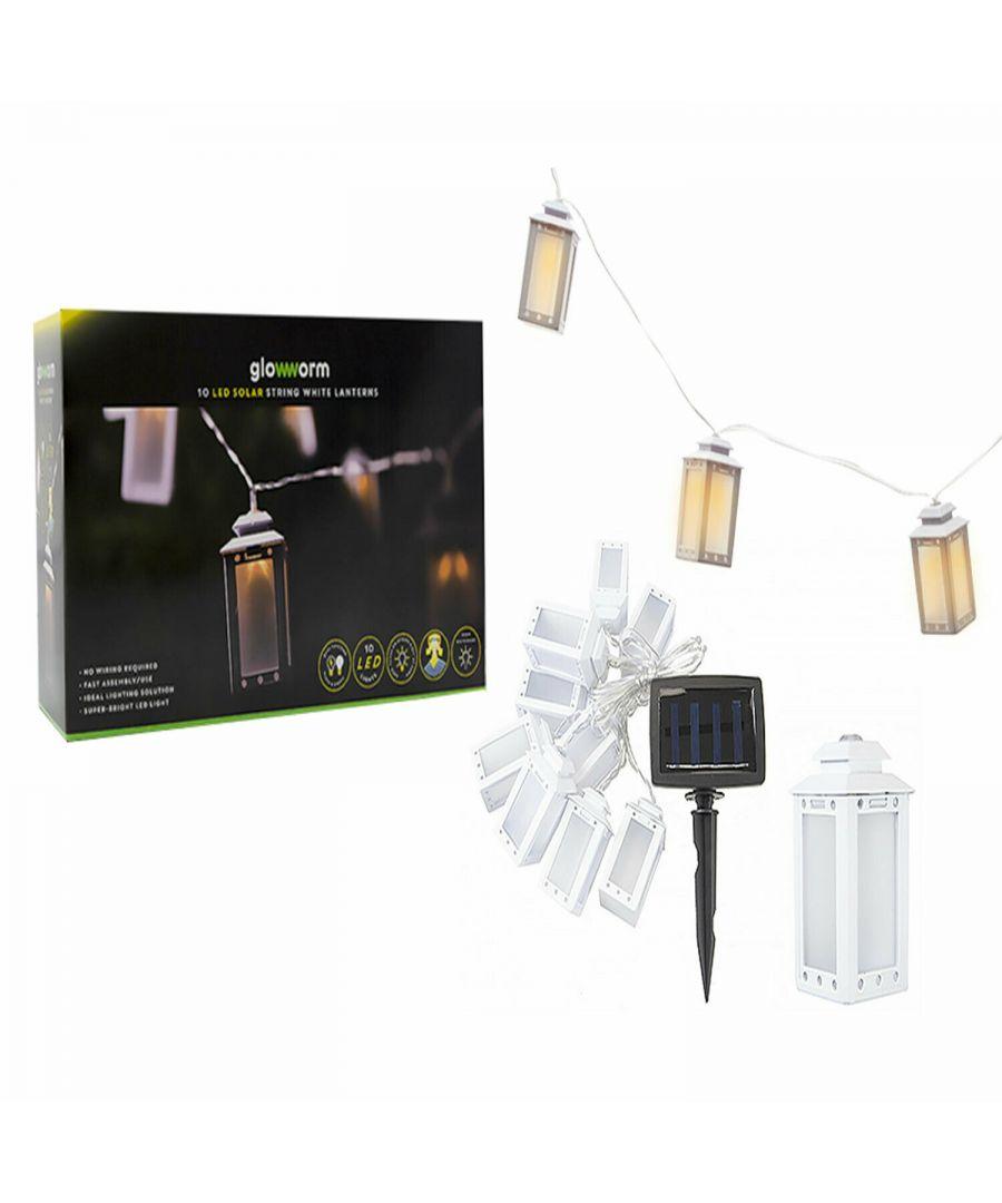 Image for 10 Laser LED White Lantern Solar String Lights