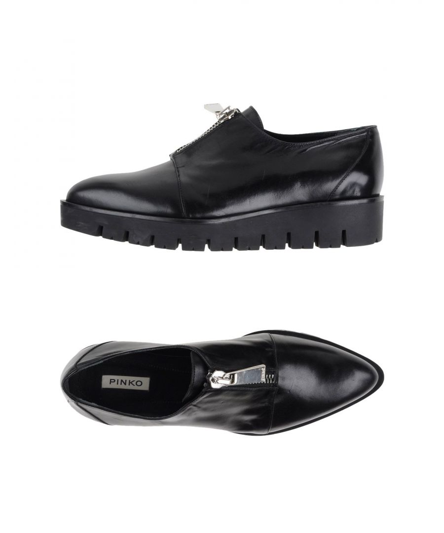 Image for Pinko Black Calf Leather Lace Up Flat Shoes
