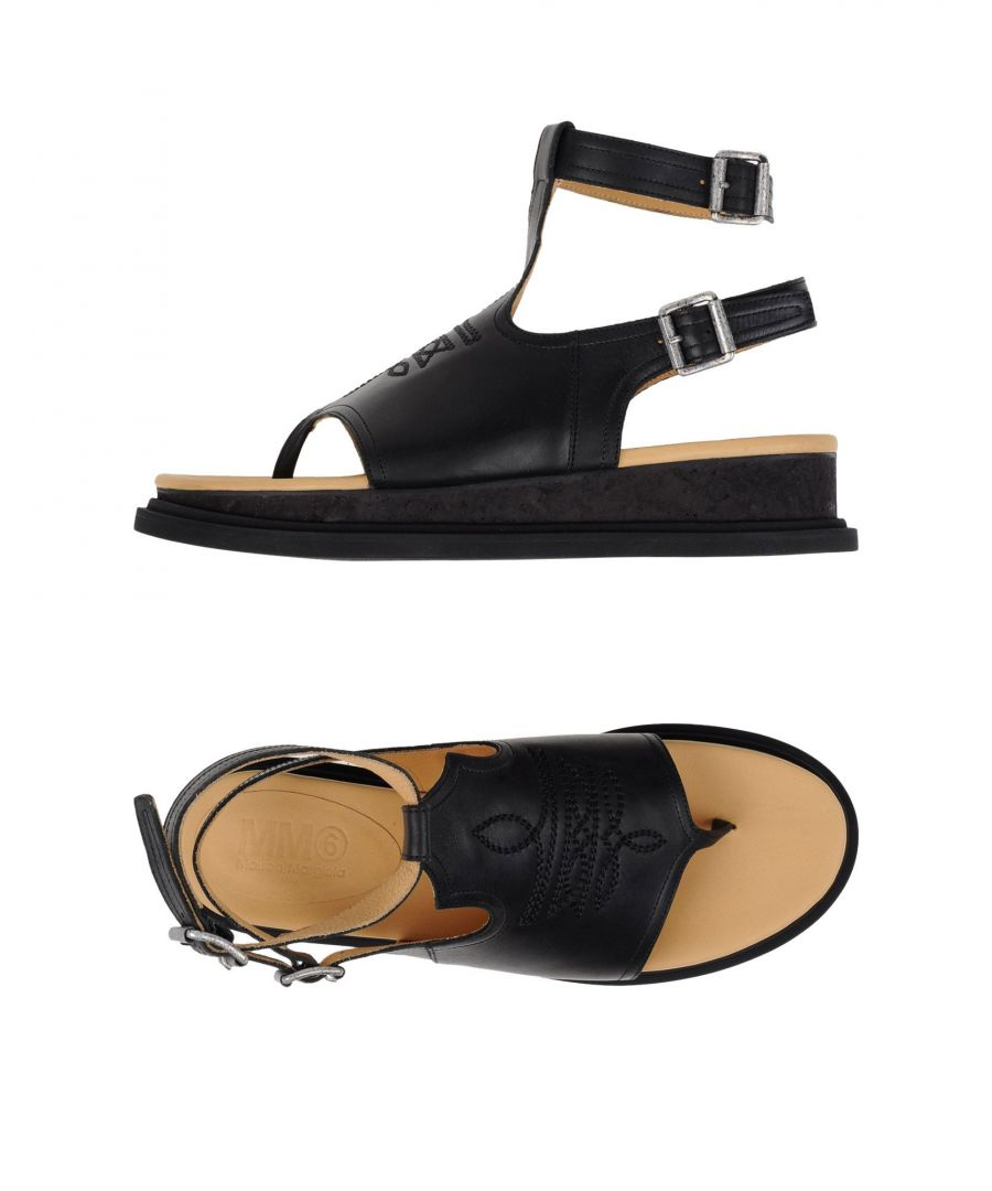Image for MM6 Maison Margiela Black Leather Sandals