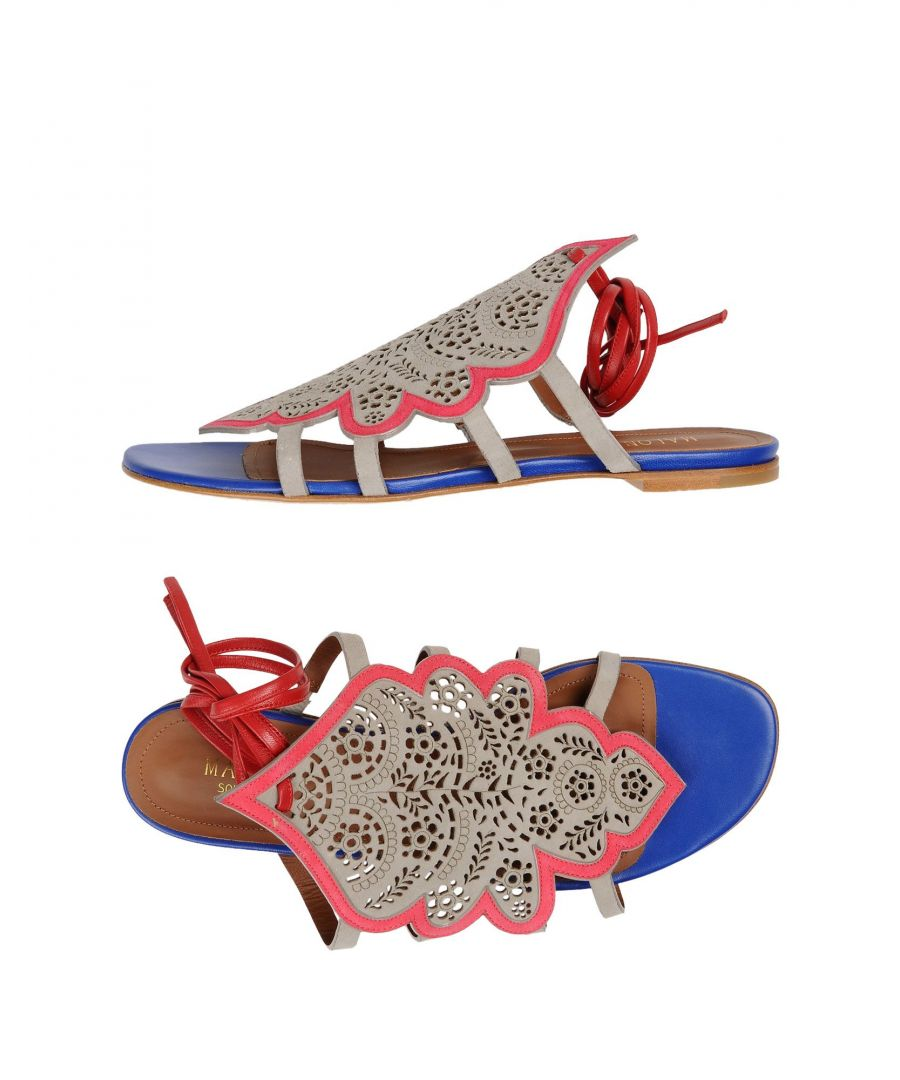 Image for Malone Souliers Grey Leather Flat Sandals