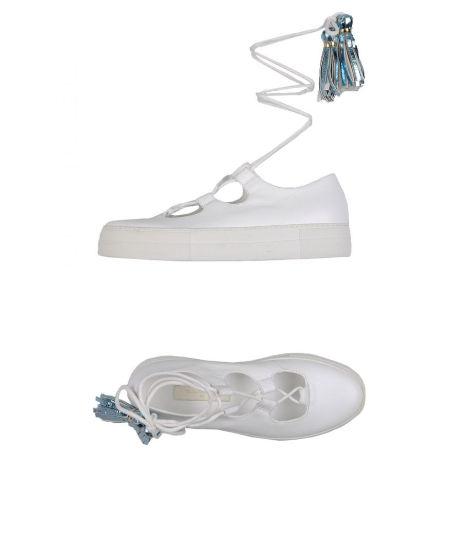 Image for L' Autre Chose White Leather Flat Lace Up Shoes