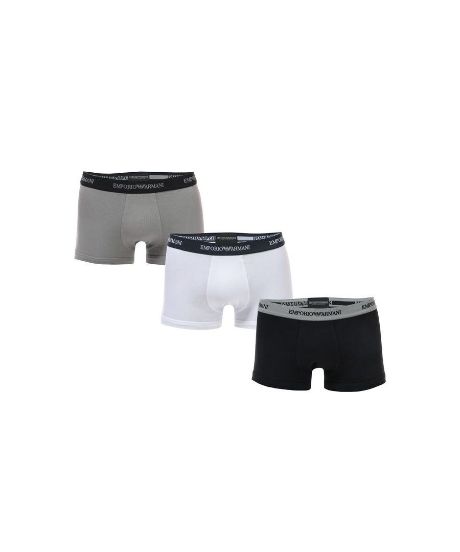 Image for Men's Armani 3 Pack Boxers in White Grey