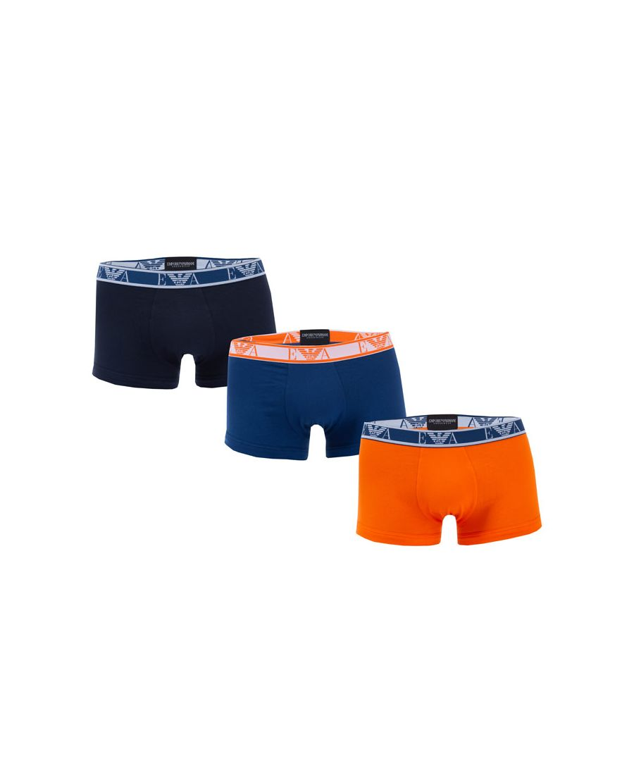 Image for Men's Armani 3 Pack Boxers in Orange blue