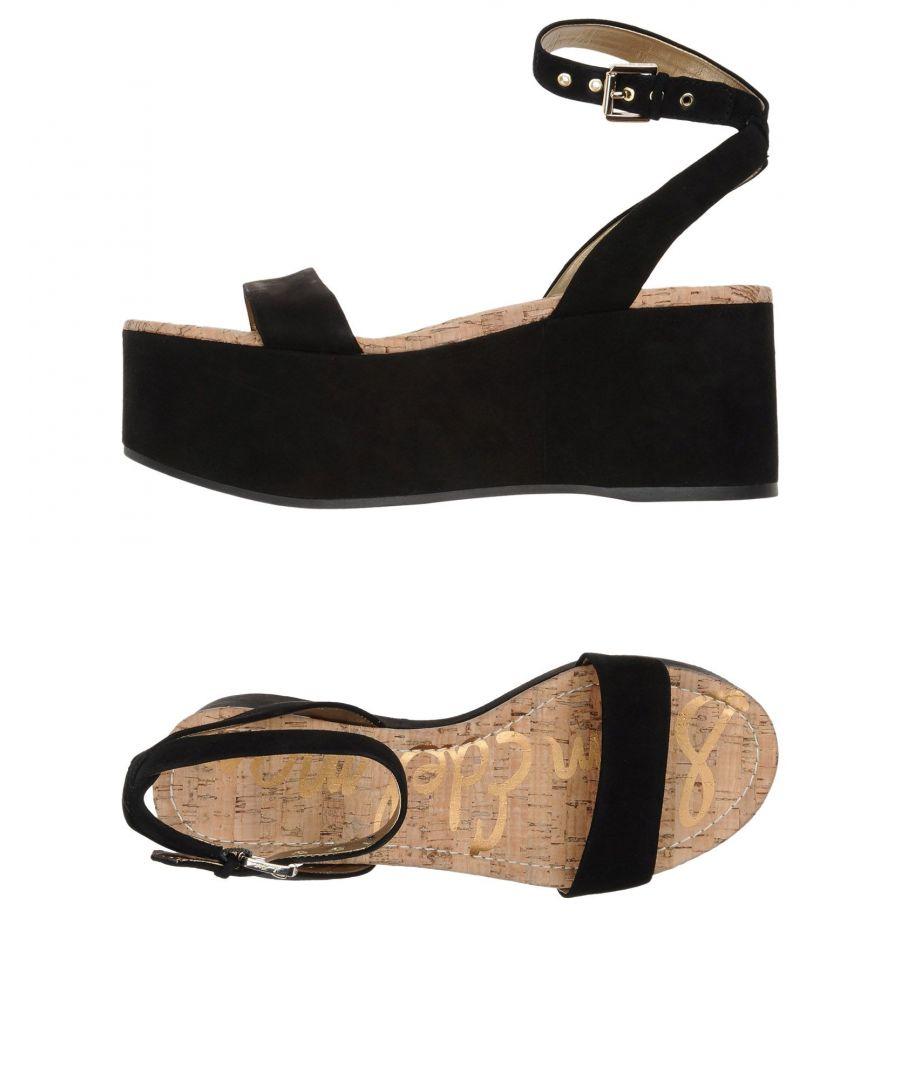 Image for Sam Edelman Black Leather Flatform Sandals
