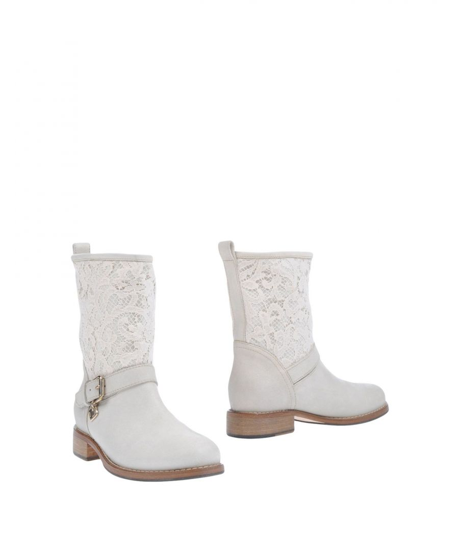 Image for Twinset Ivory Leather Ankle Boots