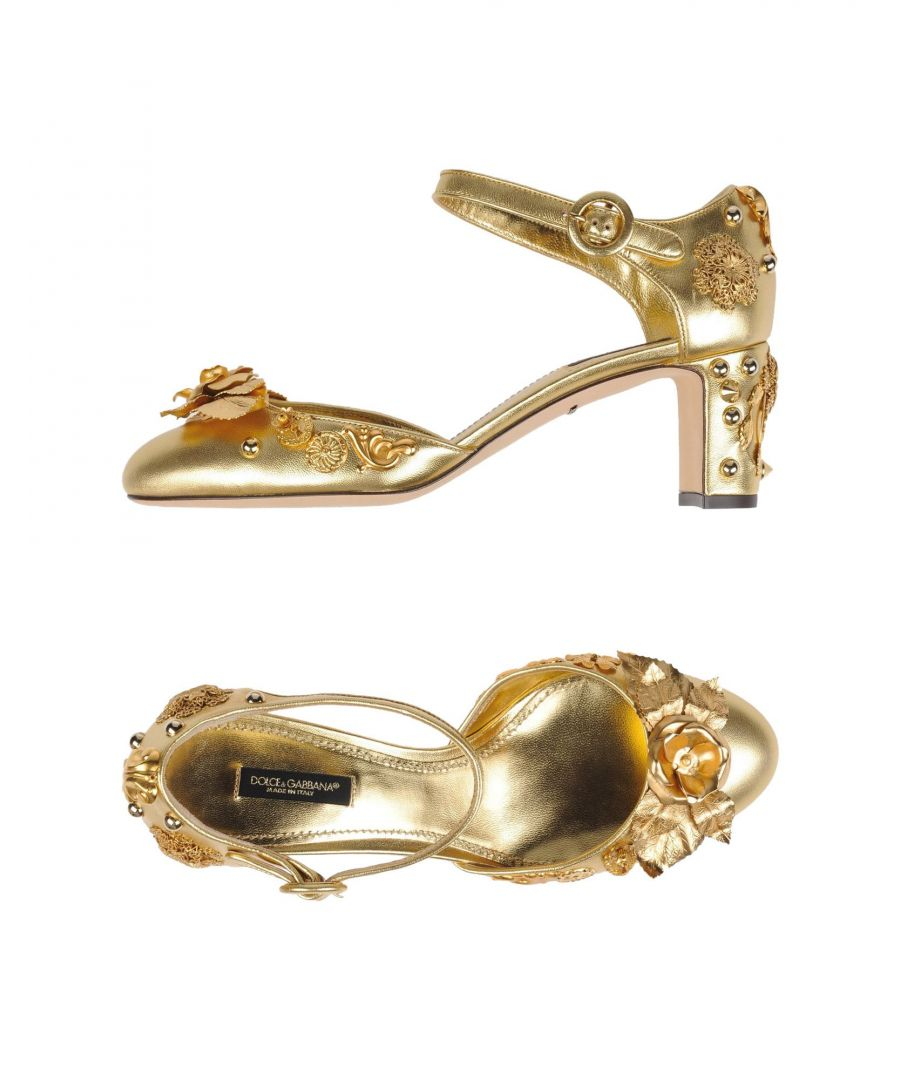 Image for Dolce & Gabbana Gold Lambskin Leather Heels