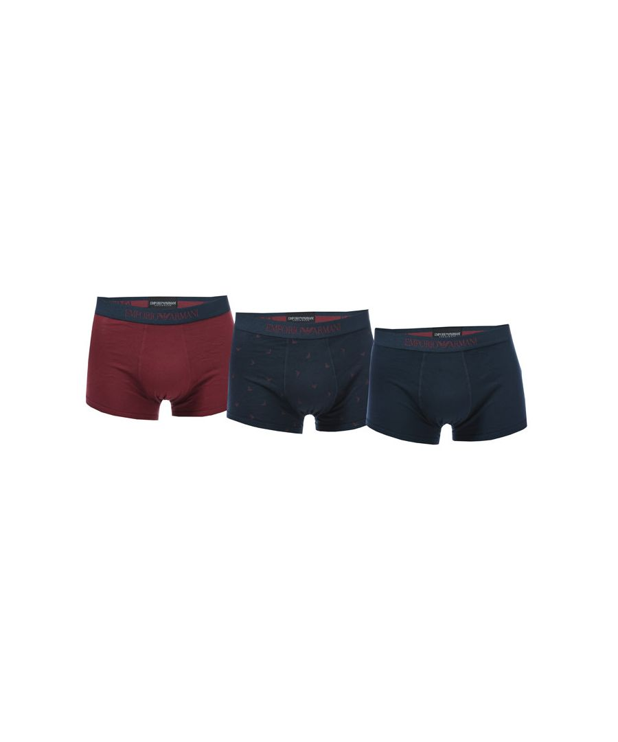 Image for Men's Armani 3 Pack Boxer Shorts in Navy
