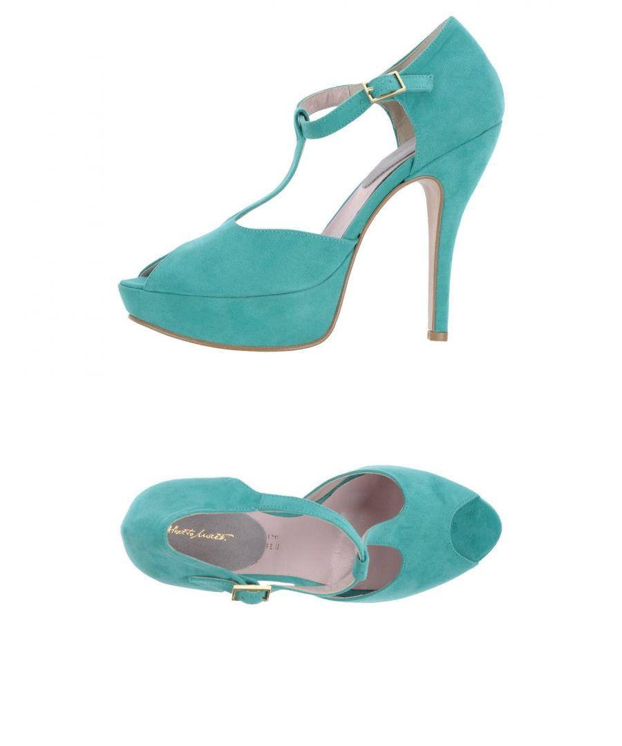 Image for Alberto Moretti Turquoise Peeptoe Mary Jane Heels