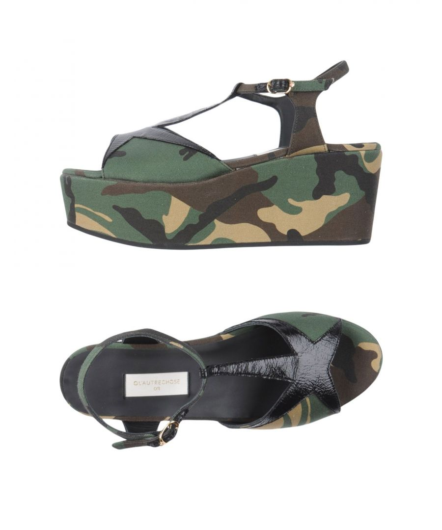 Image for L' Autre Chose Military Green Flatform Sandals