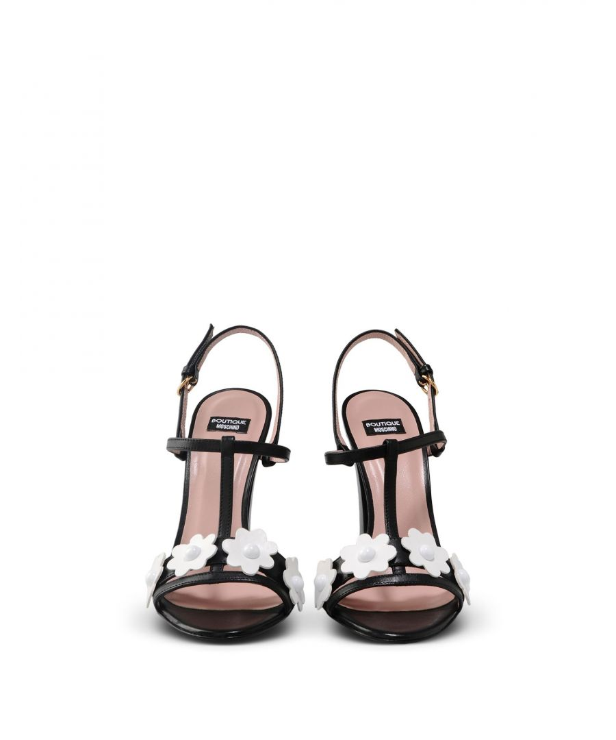Image for Boutique Moschino Black Leather Flower Detail Heeled Sandals