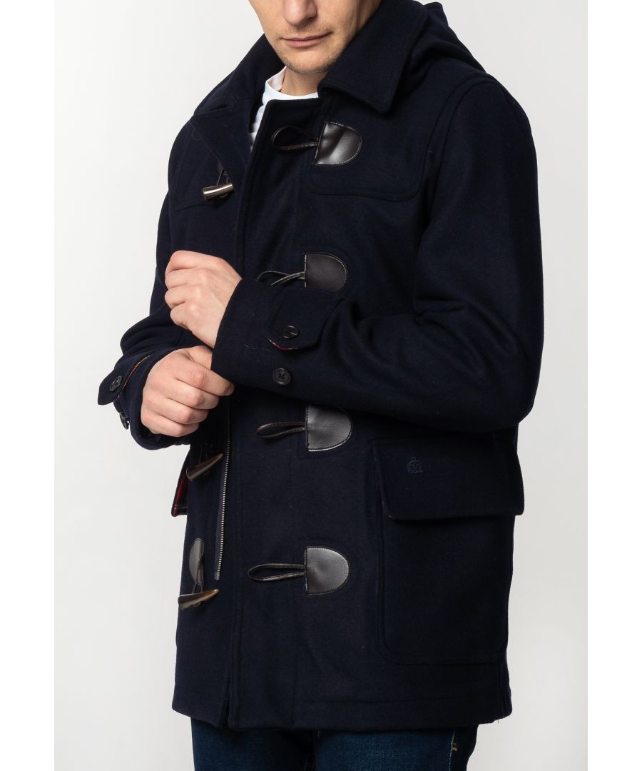 Image for Bonner Mens Short Duffle Coat With Detachable Hood In Dark Blue