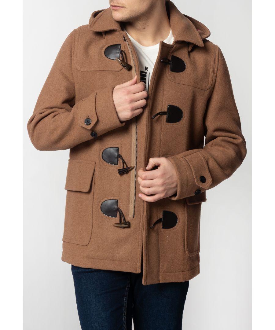 Image for Bonner Mens Short Duffle Coat With Detachable Hood In Tan